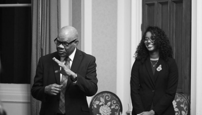 Seth George Ramocan, the Jamaican High Commissioner, came to give a talk on Windrush.
